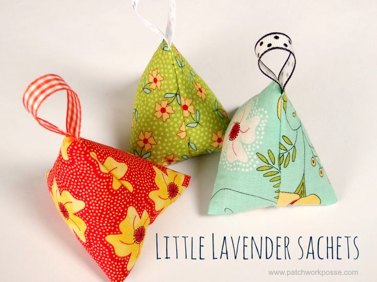 Make a simple little triangle lavender sachet. Great for your favorite essential oil scents. For more easy sewing projects visit PatchworkPosse.com