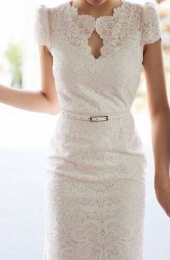 Lace short sleeve wedding gown