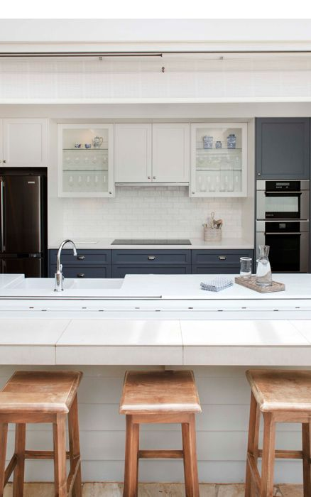 Grey Blue And White Cabinetry With Simple White Subway Tile Backsplash Kitchens Pinterest