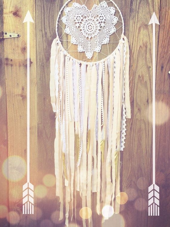 Light Pink White & Gold Shabby Chic Boho Glitter Feather Lace Heart Crochet Doily Dreamcatcher by Unicorns4Evaa