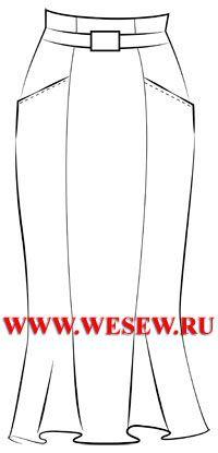Готовая выкройка юбки-годе длиной 85см с завышенной линией талии, обхват талии 72см, обхват бедер 100см.