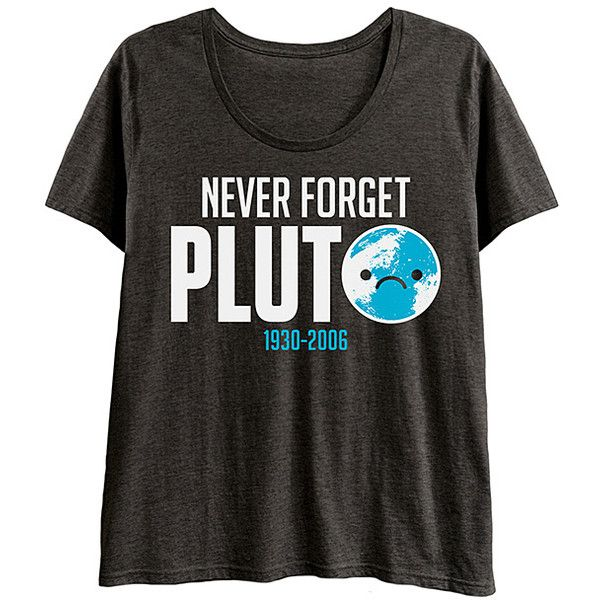 Geek Garb Plus Heather Charcoal 'Never Forget Pluto' Scoop Neck Tee ($17) ❤ liked on Polyvore featuring tops, t-shirts, plus size, womens plus tops, plus size women's t shirts, plus size t shirts, cotton tees and plus size scoop neck tee