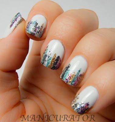 ///: Nails Art, Nails Design, April Shower, Sparkle Stripes, Glitter Nails, Nails Polish, Neon Colors, Glitter Tips, May Flowers