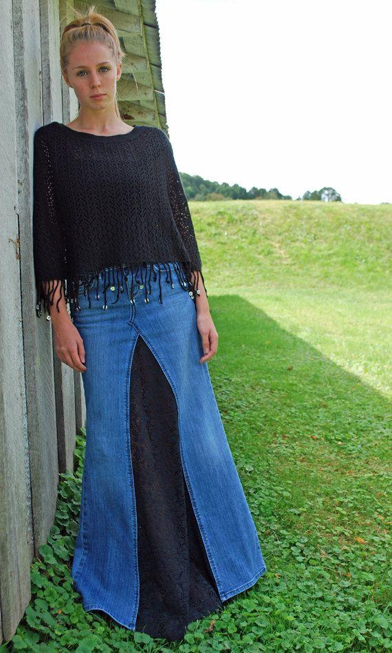 Super Long Boho Lace Jeans Skirt by Poppy Girl Jeans.