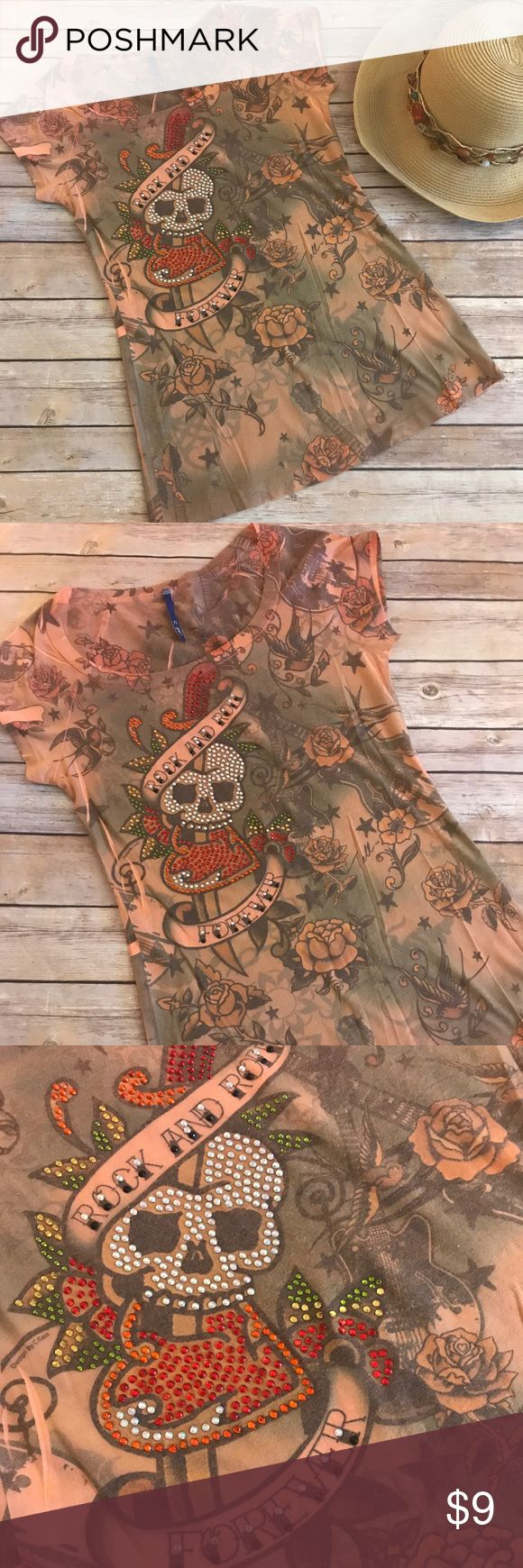 """Floral Graphic Tee 🌺Rock and Roll Forever🌺 Fabulous floral and guitar graphic tee """"Rock and Roll Forever"""" from C-gen.  Muted colors of peach and green make the skeleton and heart design pop on this tee!  Pattern repeated on the back. Size S/M (no tag). Measures 15"""" flat across bust and 24"""" long. Rock on 🎸 C-gen Tops Tees - Short Sleeve"""