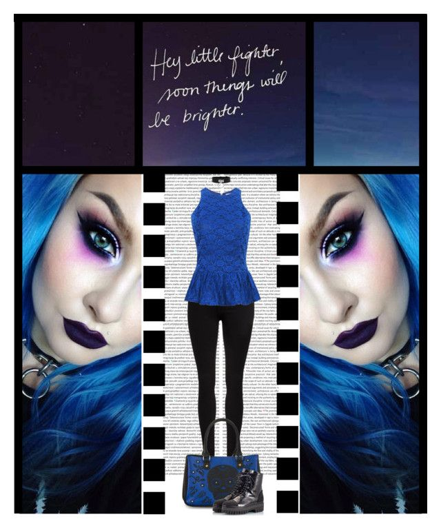 """""""The Gothic Shop (50)"""" by irresistible-livingdeadgirl ❤ liked on Polyvore featuring Dr. Denim, Loungefly, Alberto Guardiani, Blue, Boots, makeup, emo and goth"""