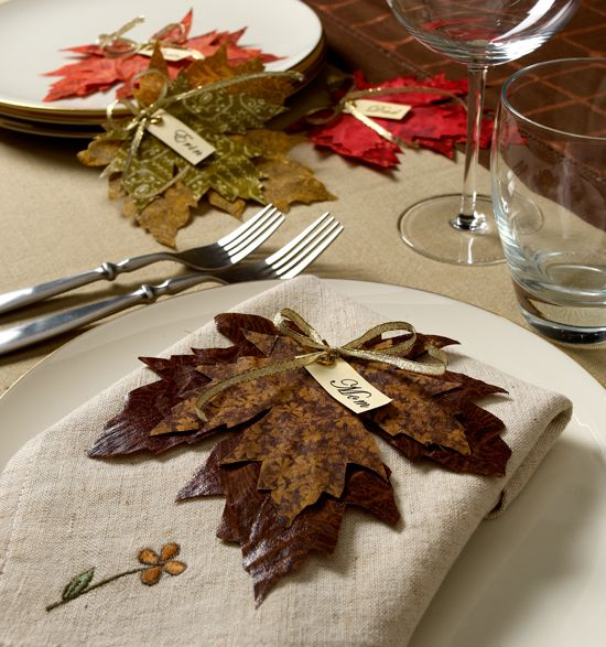 Fabric leaves place cards for fall