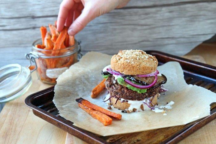 Black Bean Burger Recipe with Sweet Potato Fries - Vegan & Super Easy