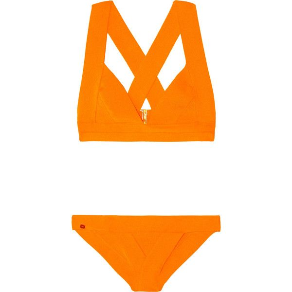 Hervé Léger Bandage triangle bikini (€225) found on Polyvore featuring women's fashion, swimwear, bikinis, bikini, bathing suits, swimsuits, swim, bright orange, triangle swimsuit and bikini bathing suits