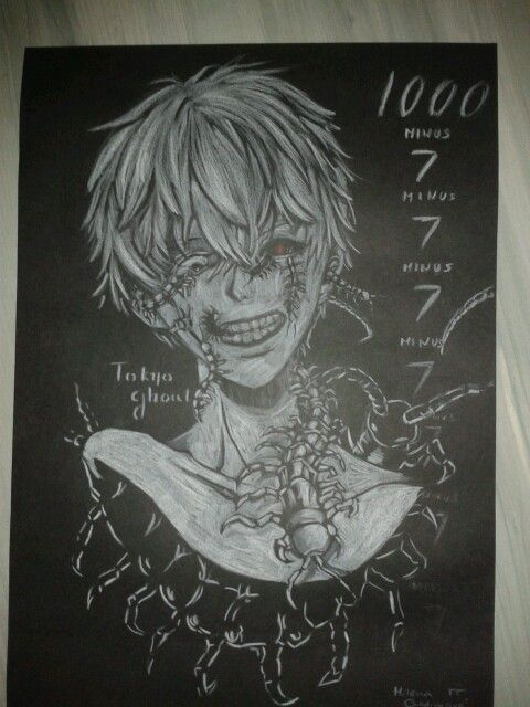 tokyo ghoul drawing white on black