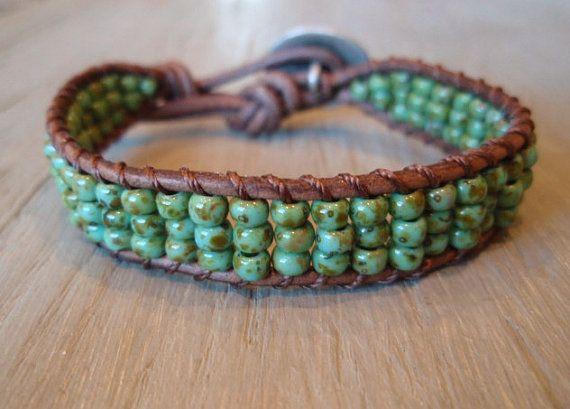 "Beaded leather bracelet ""Rustic Turquoise"", Southwest chic, earthy green, bohemian friendship bracelet, stack, celtic knot"