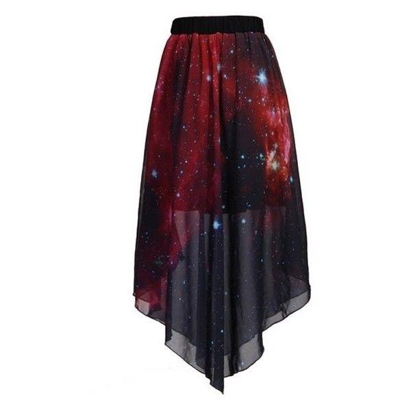 Deep Red Galaxy Print Skirt