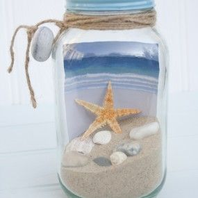 """""""Get Away in a Jar"""" ~ put a cool picture of a beach in the jar, fill with sand & mini sea shells & attach gift tag with ribbon. Would make a cute coworker office gift!"""