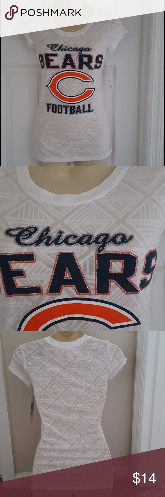 Chicago bears sheer short sleeve tee shirt Bears fan tshirt sheer graphic tee with team logo NFL apparel Tops Tees - Short Sleeve