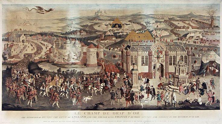 James Basire: Le Champ du Drap d'Or (1774) BnF- C'est en juin 1520 à l'occasion de l'entrevue du Camp du Drap d'Or que le roi aurait commandé à Jean Bourdichon 3 manuscrits de la Description des Douze Césars. Jean Bourdichon a également réalisé plusieurs décorations spectaculaires à l'occasion de cette rencontre: les tapisseries intérieures de la tente de François I° sont en velours bleu, parsemées de lys d'or et l'extérieur est rehaussé d'un drap d'or frisé.