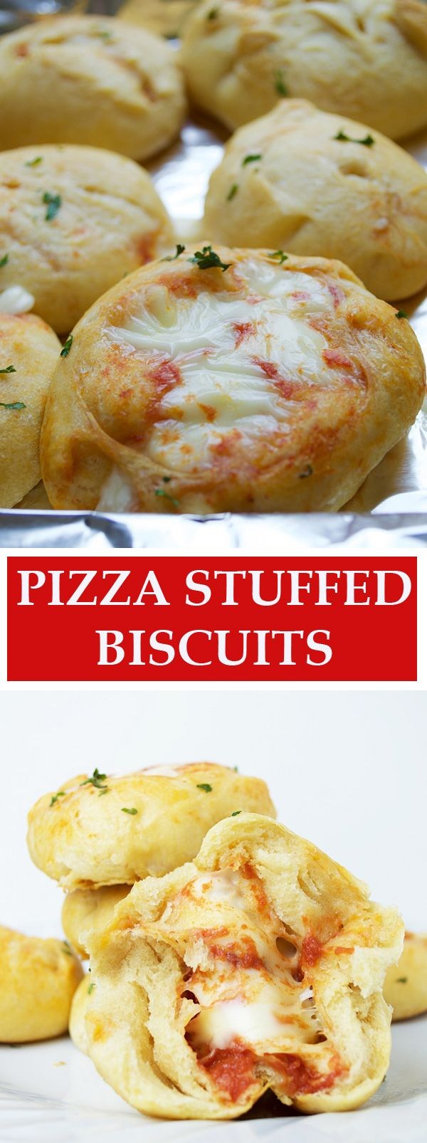 These pizza stuffed biscuits are filled with garlic-y tomato sauce and melty mozzarella cheese for mini pizza bites. Perfect for a snack, lunch, or dinner!