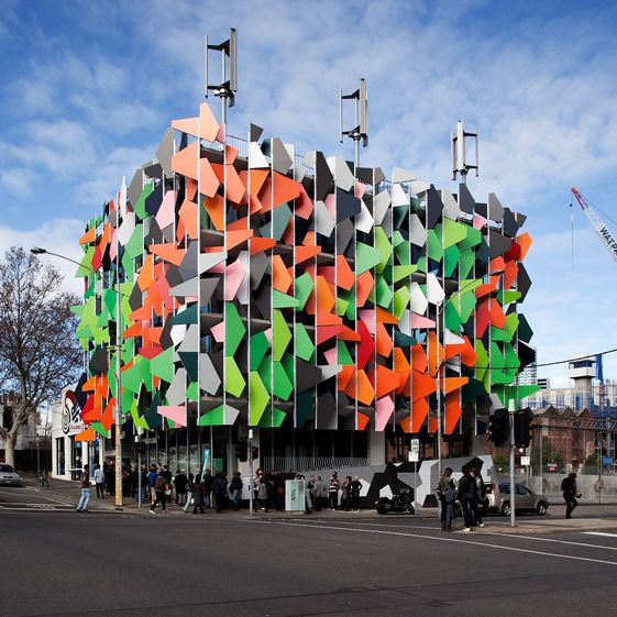 Pixel Building, Melbourne, first carbon neutral office building.  creative and environmental friendly :)