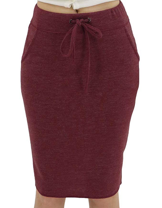 e59fe98abd BENANCY Women's High Waist Stretch Pencil Skirt with Pockets | Knee ...