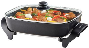 Features/Specifications Product code: RHFP900 1260W-1500W         Die-cast aluminium construction - 4mm thick pan Oversized 30 x 38cm pan Versatile Cooking:  Roast, Grill, Bake, Simmer, Stir-Fry Cooks from simmer to 220ºC Toughened glass lid with steam vent Easy-to-read, adjustable thermostat control with 5 heat settings for precision cooking Deep 8cm interior Convenient for serving - select the first setting to serve directly from the pan Premium non-stick interior for quick and easy…