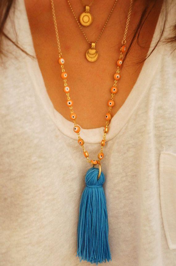 Thornberry Tassel Necklace in Bluebell & Peach by ThornberryNYC