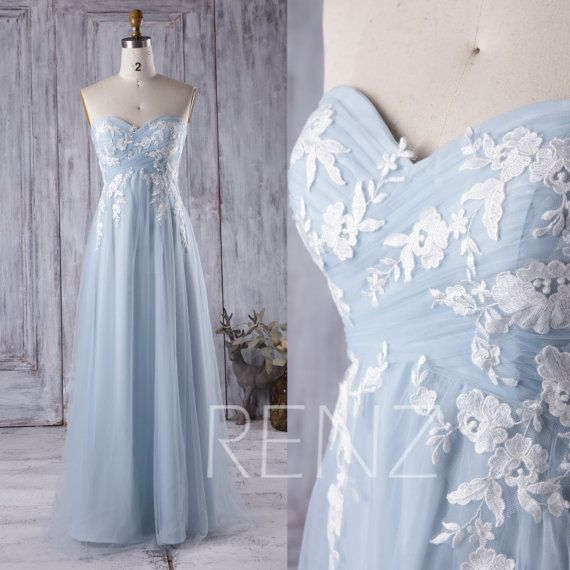 2017 Light Blue Bridesmaid Dress with White Lace Sweetheart