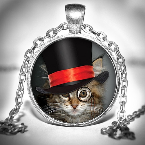 Oh my word, how adorable! Steampunk Tophatter Cat Pendant - up for auction.: Big Cat, Cat Jewelry, Cat Crafts, Steampunk Necklace, Cat Lovers