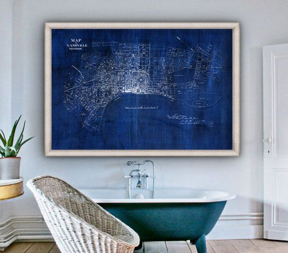 ⚓ Extra large historical map of Nashville, Tennessee from 1860. Ink on Canvas.    ⚓ Beautifully detailed, early street map. Available in original