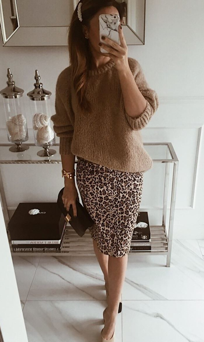 how to style a leopatd pencil skirt : heels brown knit sweater
