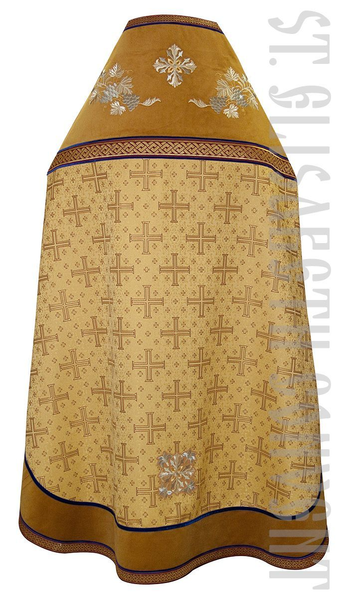 Gold Russian-style priest vestments from brocade and velvet with Grapes and Lilies embroidery and handmade tassels.    Learn more: https://catalog.obitel-minsk.com/priest-vestment-sh-11-90-1.html    #CatalogOfGoodDeeds #OrthodoxVestments #PriestVestments