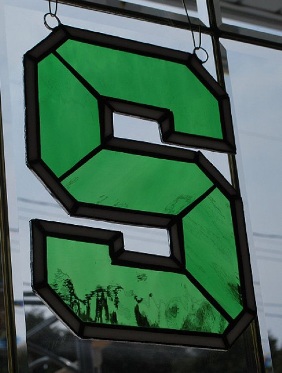 """Stained glass Michigan State Spartans green """"S"""" suncatcher, wall hanging"""