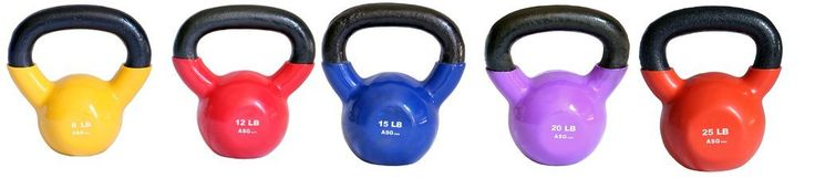 Ader Vinyl Kettlebell Set-8, 12, 15, 20, 25 Lb 5 Pieces. Ader vinyl kettlebells are vinyl-dipped for a thick, durable rubberized coating. Color-coded by weight and easy on your floors. 8, 12, 15, 20, 25 Lbs (5 Pieces). Colors may vary. Ships to all 50 States, APO, FPO, and P.O. Box.