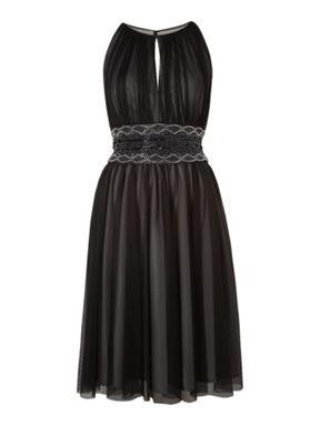 Mesh beaded keyhole dress