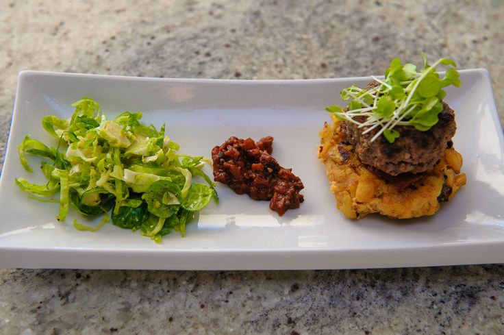 Mexican Slider, Plantain & Pancetta Patty with BBQ Mole Tomato Chutney & Shaved Brussels Sprout Salad