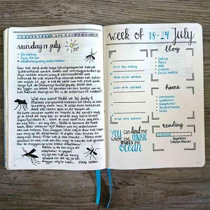 How to: Summer Bullet Journal. A page with my new weekly and daily spread layout. This month I added the 'journal' section below each daily.