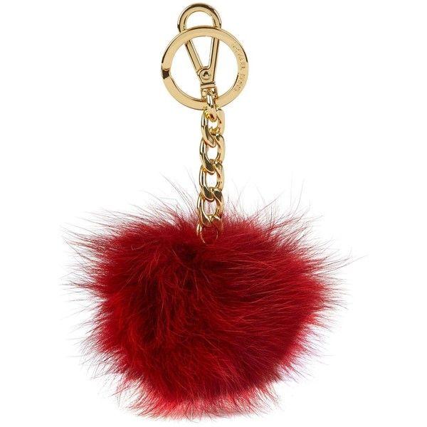 Womens Keyrings Michael Kors Burgundy Fox Fur Pompom Keyring ($42) ❤ liked on Polyvore featuring accessories, items, pom pom key ring, michael kors key ring and michael kors