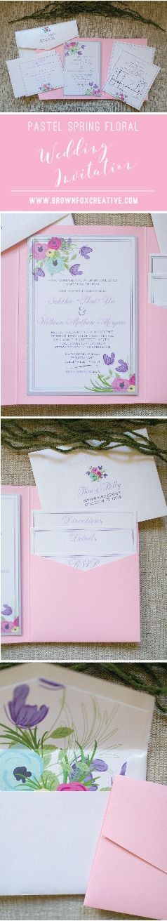 Pastel Spring Flowers Pocket Wedding Invitation
