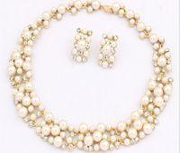 2015 recién llegado de Classic barato clara perlas y diamantes de imitación gargantilla collar / joyería de la boda aretes