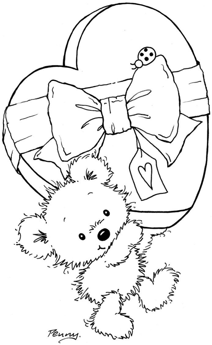 473 best images about digi stamps on pinterest snail for Valentine bear coloring pages