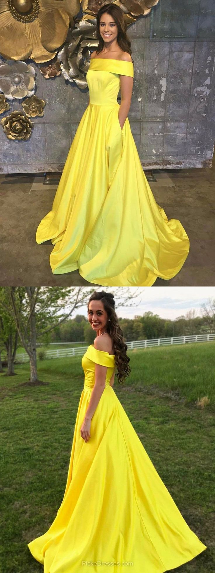 Yellow Prom Dresses, Long Prom Dresses For Teens, 2018 Prom Dresses Princess, Off-the-shoulder Prom Dresses Satin Pockets #dresses#style#borntowear