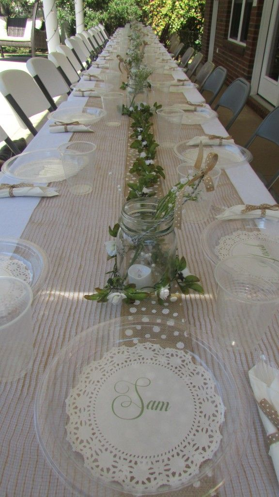 So I saw an idea similar to this on Pinterest, and I thought I would try it for my son's Homecoming dinner. I just used clear plastic (read: CHEAP!) plates, but with these personalized doilies unde...