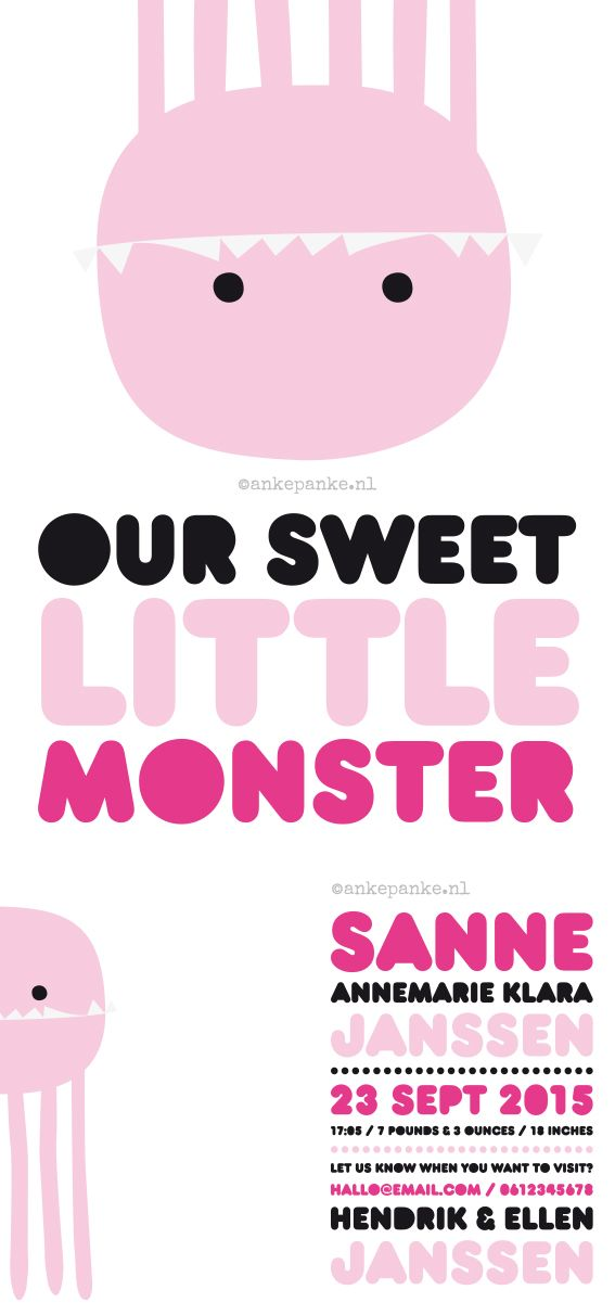 Pink monster birth announcement by http://ankepanke.nl
