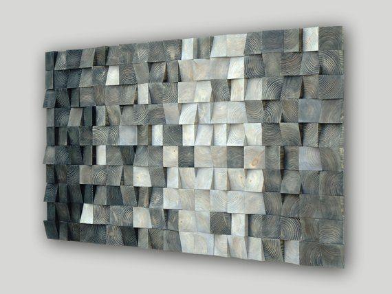 Wood Block 3d Wall Art Mosaic Wood Wall Hanging For Home Decor