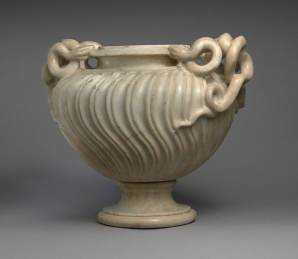 Marble strigilated vase with snake handles, Period…