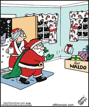 Off the Mark comic 12/26/15 - Christmas Humor - Where's Waldo - Santa couldn't find him again this year.