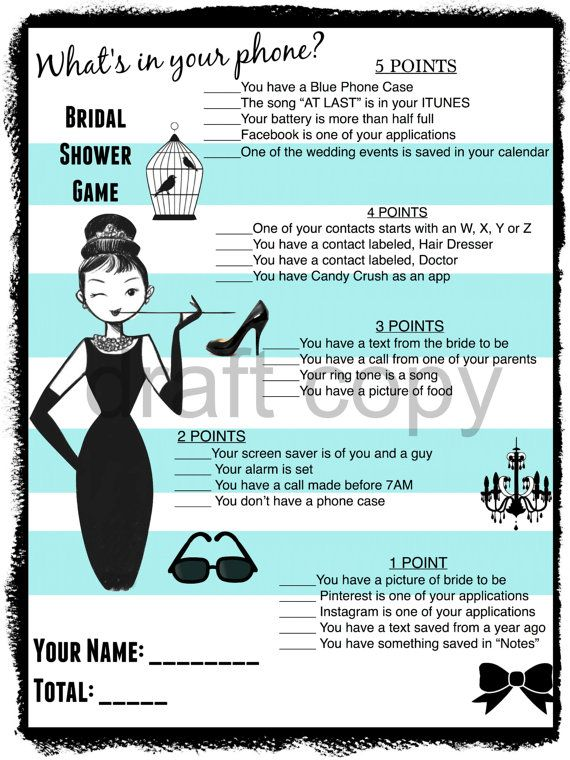Wedding Shower Game-Breakfast at Tiffany's-Printable Game
