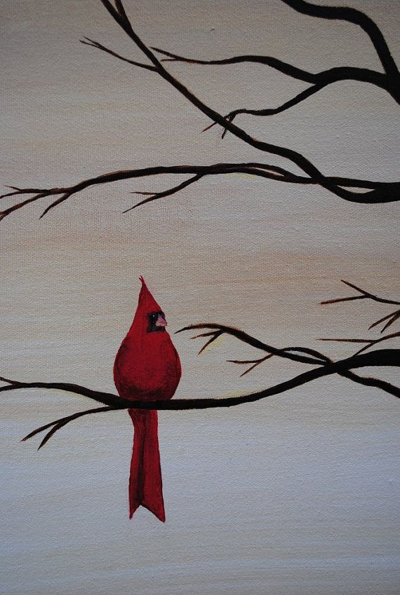 Original acrylic on canvas, 20 x 24.    One bright spot of color, a crimson cardinal perched regally in a leafless tree painted in silhouette.