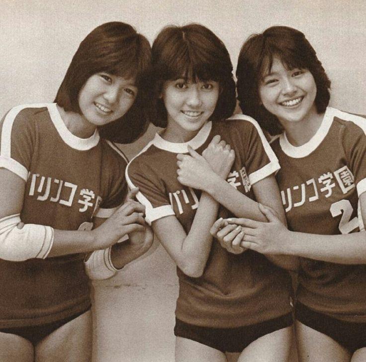 堀ちえみ x 松本伊代 x 小泉今日子。☆80's idols shortly after their debuts. Left to right: Chiemi Hori, Iyo Matsumoto, Kyōko Koizumi.