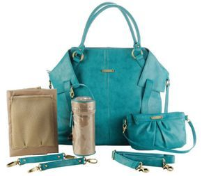 Timi & Leslie Baby Diaper Bag Charlie Teal Faux Leather 7 Piece