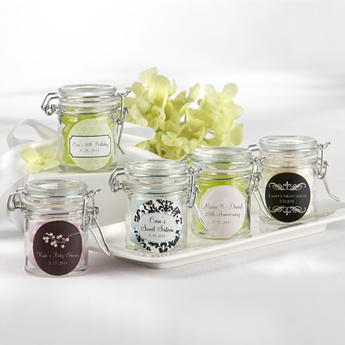 Personalized Glass Favor Jars by Beau-coup: Wedding Favors, Personalized Glasses, Favors Jars, Cute Ideas, Parties Favors, Glasses Jars, Favors Ideas, Mason Jars, Glasses Favors