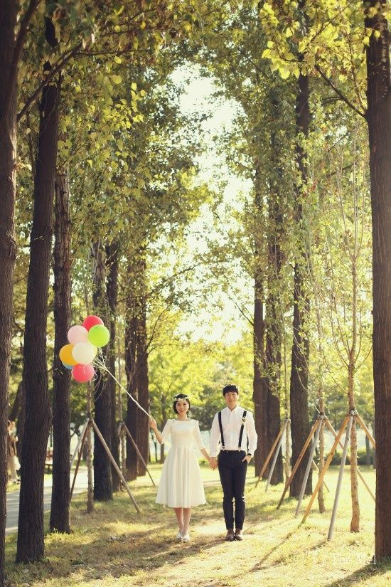 Couple, Front facing, Full body shot, Balloons, Greenery, Casual or formal outfit